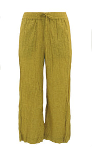 Pull On Linen 7/8th Pant with Split Front in Mustard