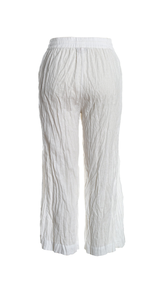 Pull On Linen 7/8th Pant with Split Front in White