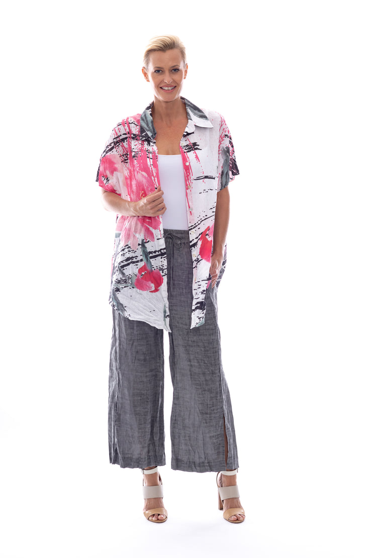 Linen\Cotton  Print Oversize Shirt in Pink Hibiscus