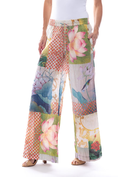 Linen\Cotton Wide Leg Pant in Linen Bird Print