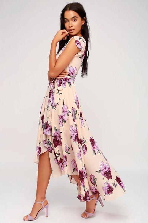 French Countryside Blush Floral Print High Low Dress