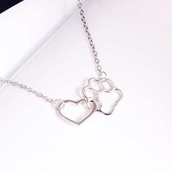 Fashion Necklace  Dog Paw Heart - jewelryboutique
