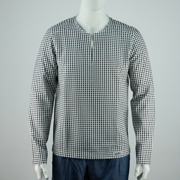 Asian Beach Shirt Checked black & white