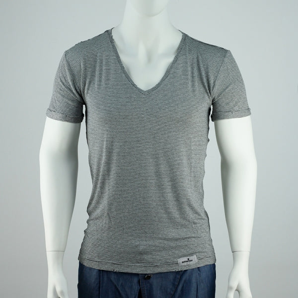 V-neck basic Shortsleeve - dunkel gestreift