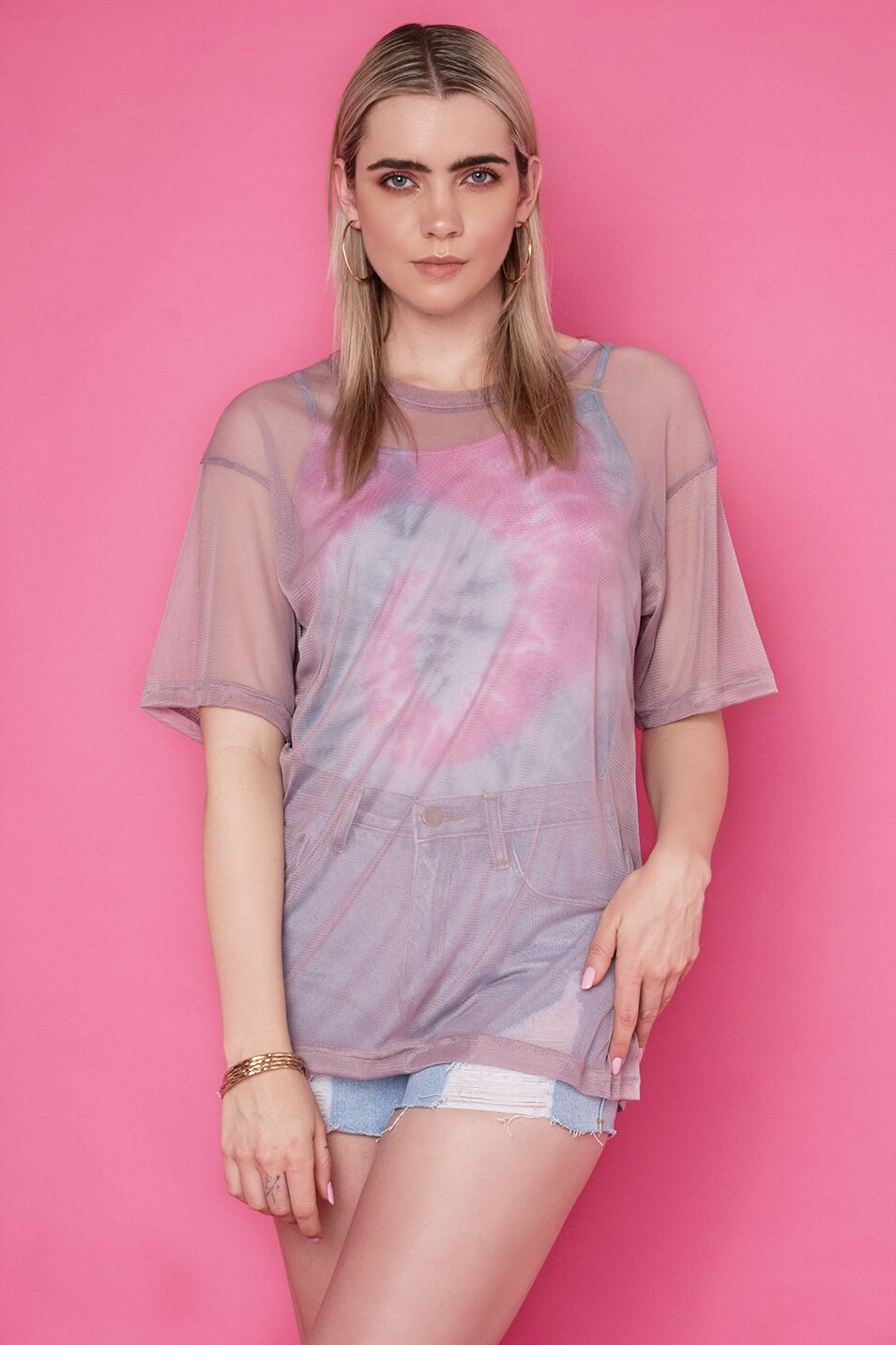 Load image into Gallery viewer, Nicola Tie-Dye & Mesh Top Set - Purple