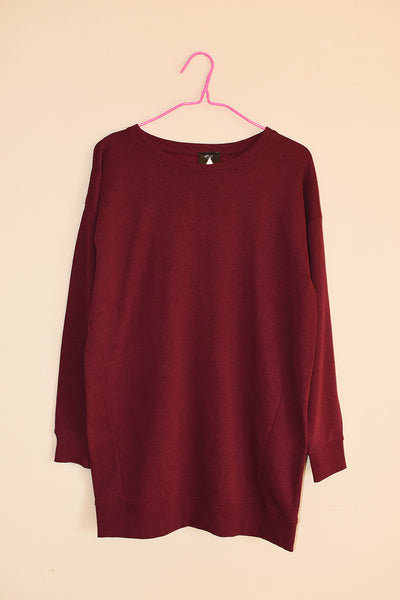 Power of a Woman Longline Sweater - Maroon