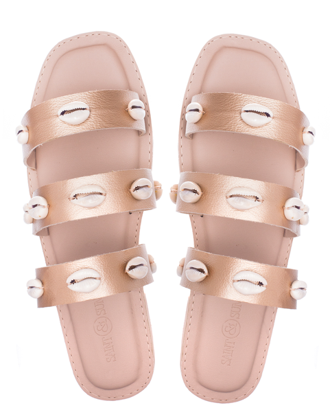 LUSH LEATHER SEASHELL SANDALS - GOLD