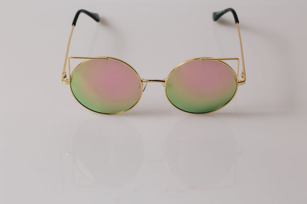Metal Cat Eye with Pink Lenses - Sunnies