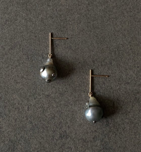 The Petite Collection Short Straight Drop Articulated Tahitian Baroque Pearl Earrings