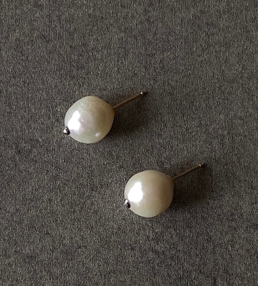 The Petite Collection White Baroque Pearl Stud Earrings