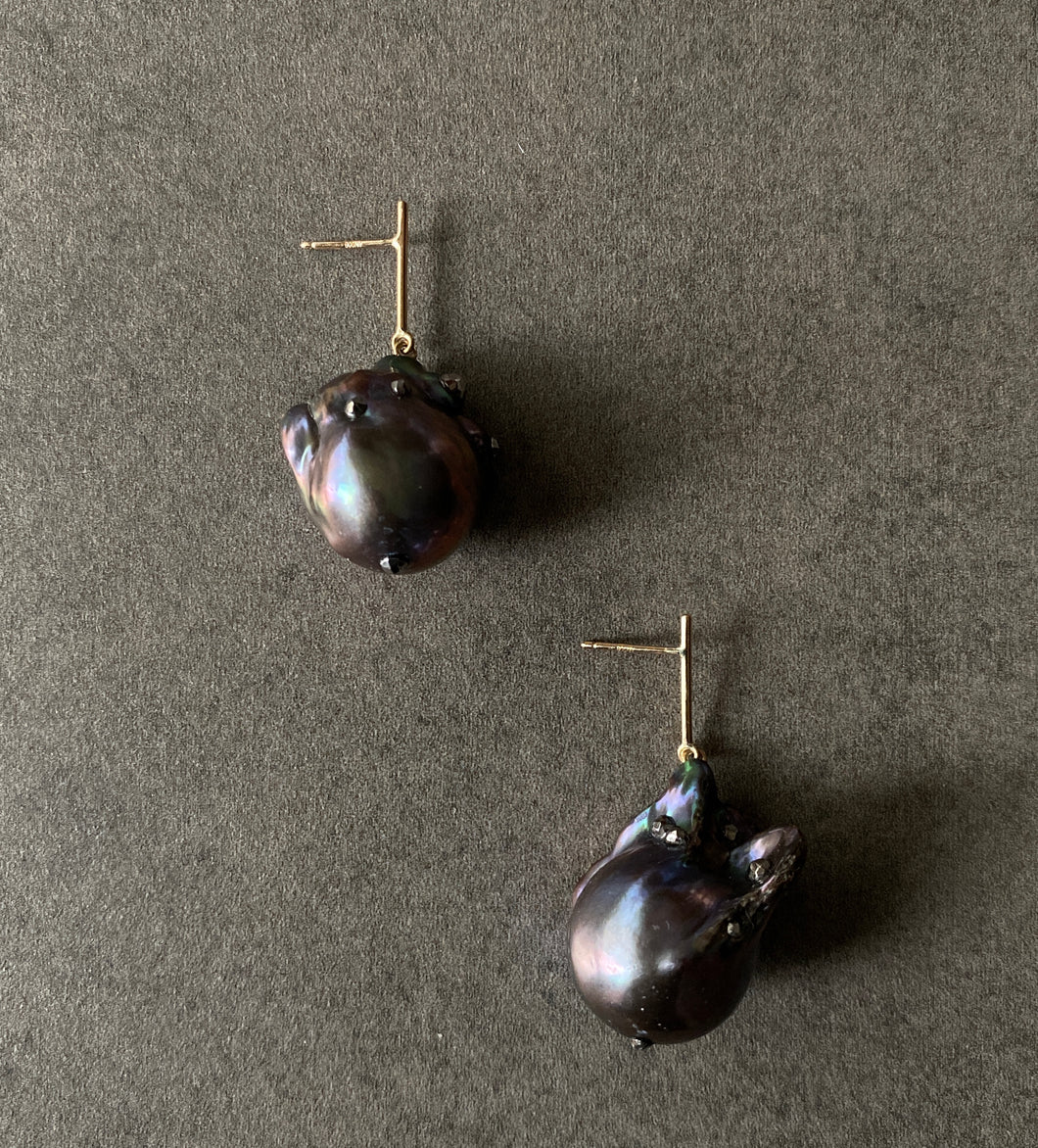 Large Black Pearl Short Line Drop Earrings