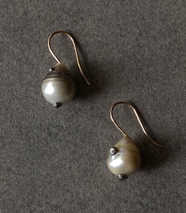 The Petite Collection French Wire Fixed Tahitian Baroque Pearl Earrings