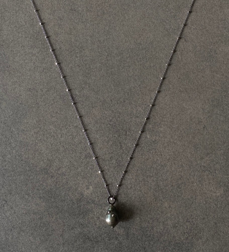 The Petite Collection Long Blackened Sterling Silver Necklace with Tahitian Baroque Pearl Pendant