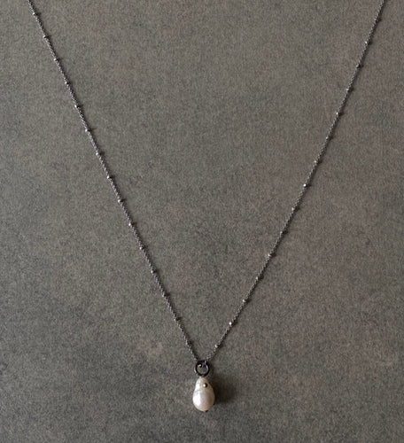 The Petite Collection Long Blackened Sterling Silver Necklace with White Baroque Pearl Pendant