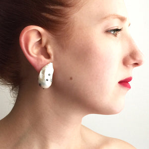 Large White Pearl Stud Earrings