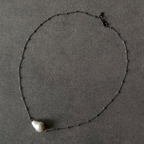 The Petite Collection Blackened Sterling Silver Necklace with Fixed White Baroque Pearl