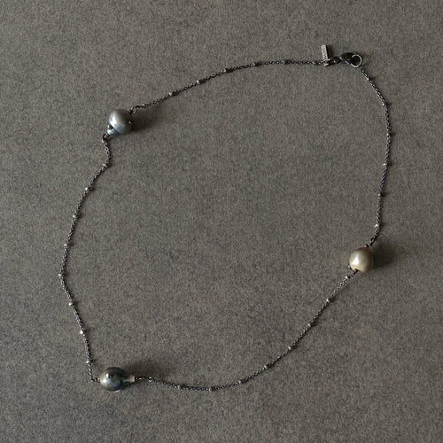 The Petite Collection Blackened Sterling Silver Necklace with Three Fixed Tahitian Baroque Pearls