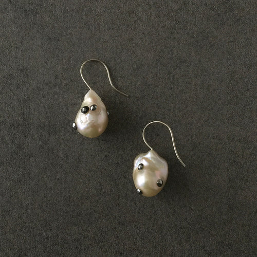 French Drop Fixed Baroque Pearl Earrings
