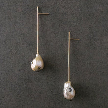 Load image into Gallery viewer, Pearl Straight Line Drop Earrings