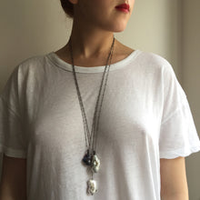 Load image into Gallery viewer, Long Blackened Sterling Silver Necklace with White Baroque Pearl Drop Chain Pendant