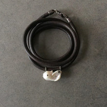 Load image into Gallery viewer, White Baroque Pearl, English Rawhide & Blackened Sterling Silver Bracelet