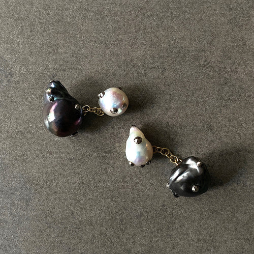 Double Sided Mixed Pearl and Gold Cufflinks