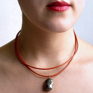 Orange Leather Cord and Black Pearl Necklace
