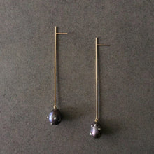 Load image into Gallery viewer, Pearl Long Straight Line Drop Earrings