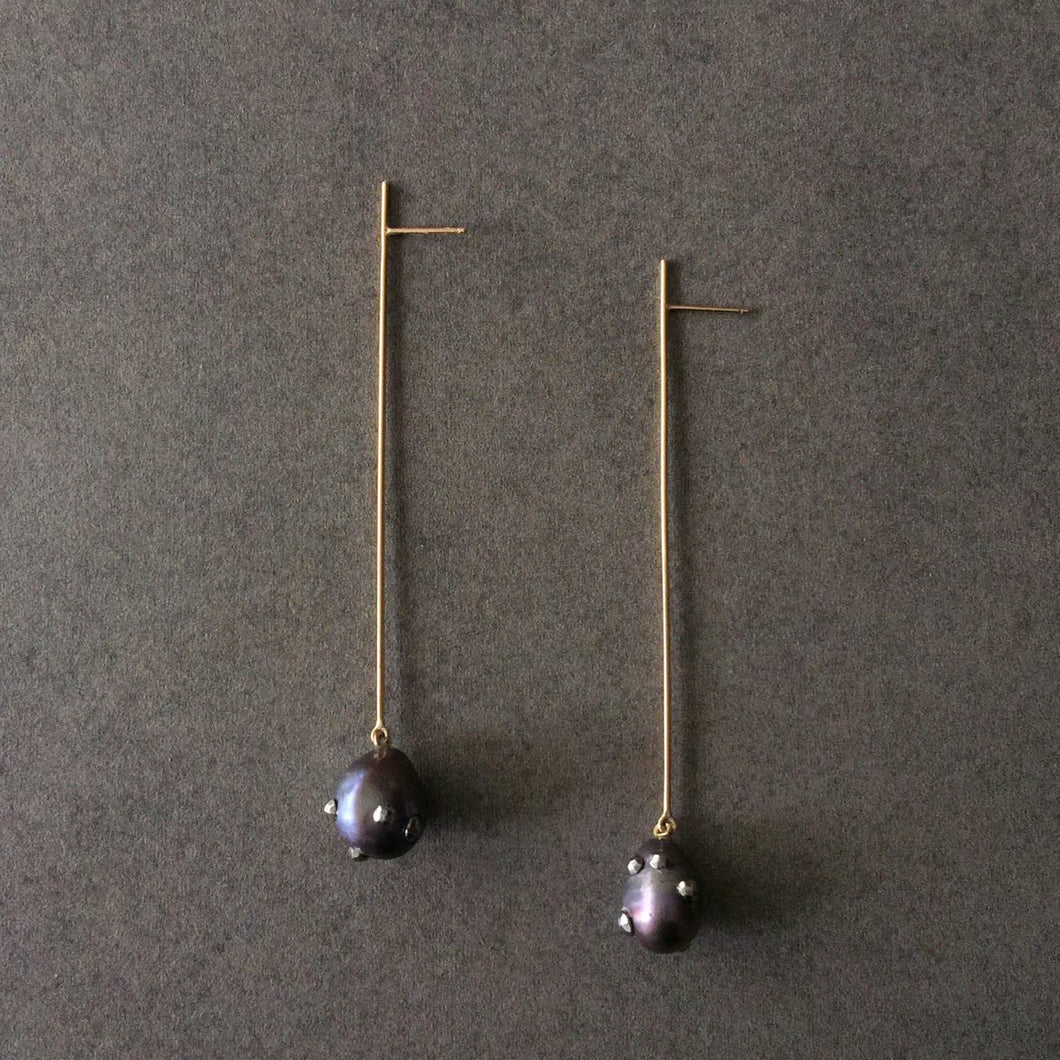 Pearl Long Straight Line Drop Earrings