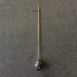 Single Pearl Long Straight Line Drop Earring