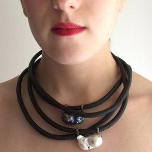 Black Baroque Pearl, English Rawhide and Blackened Sterling Silver Necklace