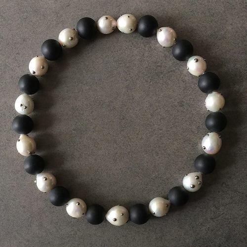 White Baroque Pearl and Matte Onyx Necklace
