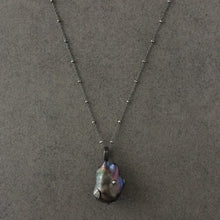 Load image into Gallery viewer, Long Blackened Sterling Silver Necklace with Black Baroque Pearl Pendant