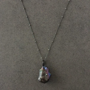 Long Blackened Sterling Silver Necklace with Black Baroque Pearl Pendant