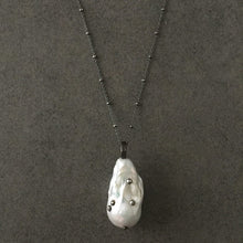 Load image into Gallery viewer, Long Blackened Sterling Silver Necklace with White Baroque Pearl Pendant