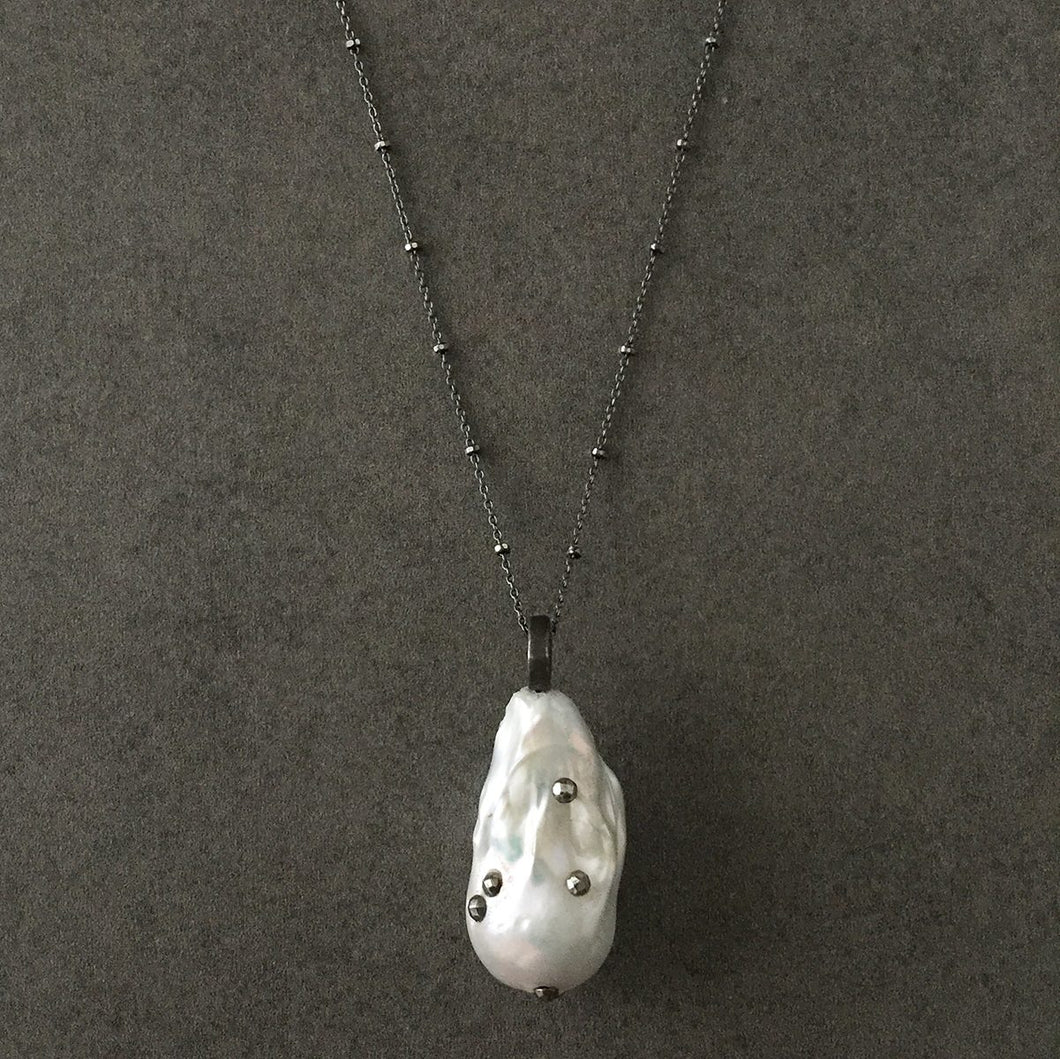 Long Blackened Sterling Silver Necklace with White Baroque Pearl Pendant