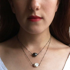Blackened Sterling Silver Necklace with Studded Black Baroque Pearl