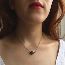 Load image into Gallery viewer, Blackened Sterling Silver Necklace with Studded Black Baroque Pearl