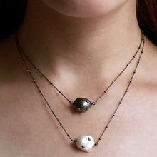 Load image into Gallery viewer, Blackened Sterling Silver Necklace with White Baroque Pearl