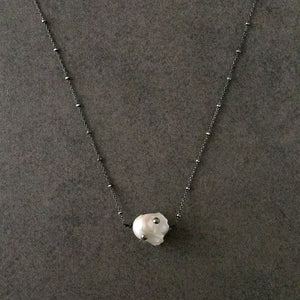 Blackened Sterling Silver Necklace with White Baroque Pearl