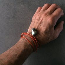 Load image into Gallery viewer, Orange Leather Cord and Black Pearl Bracelet
