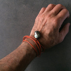 Orange Leather Cord and Black Pearl Bracelet