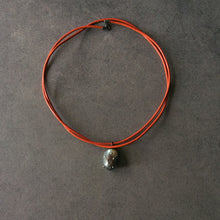 Load image into Gallery viewer, Orange Leather Cord and Black Pearl Necklace
