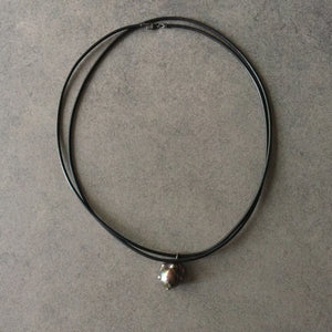 Black Leather Cord and Black Pearl Bracelet