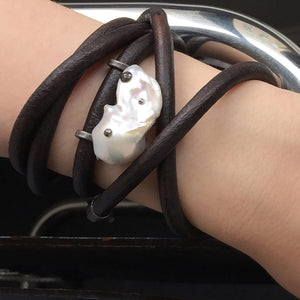 White Baroque Pearl, English Rawhide & Blackened Sterling Silver Bracelet