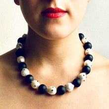 Load image into Gallery viewer, White Baroque Pearl and Matte Onyx Necklace