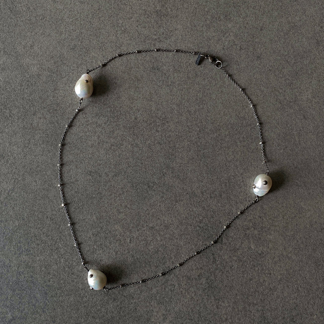The Petite Collection Blackened Sterling Silver Necklace with Three Fixed White Baroque Pearls