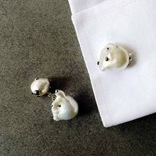 Load image into Gallery viewer, Double Sided White Pearl and Gold Cufflinks