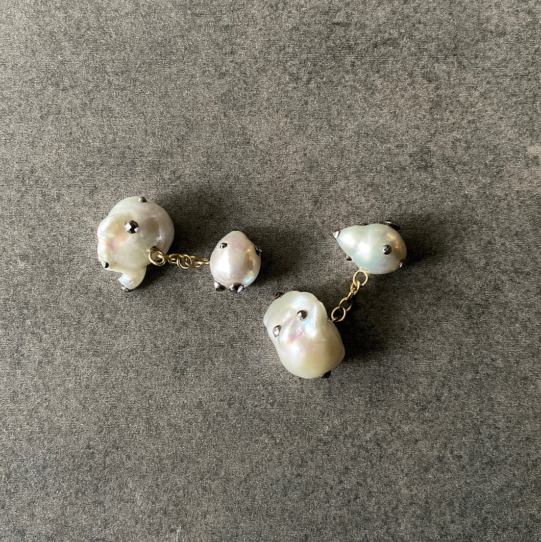 Double Sided White Pearl and Gold Cufflinks