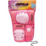 Pink Impala adults protective set including wrist guards, knee pads and elbow pads. Safety Equipment for roller skating and skateboarding.